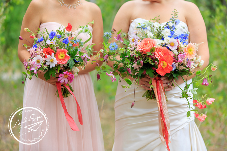 Wild Flower Bouquets from Rustic Leavenworth Wedding at Sleeping Lady Resort. Click to see more