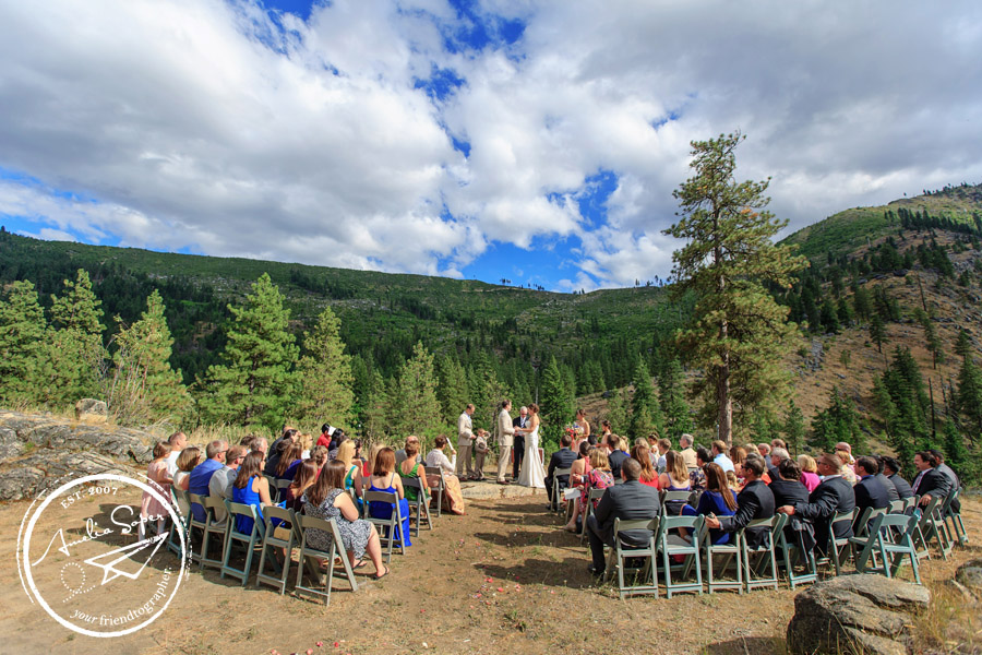 Scenic Leavenworth Wedding ceremony at Sleeping Lady Resort