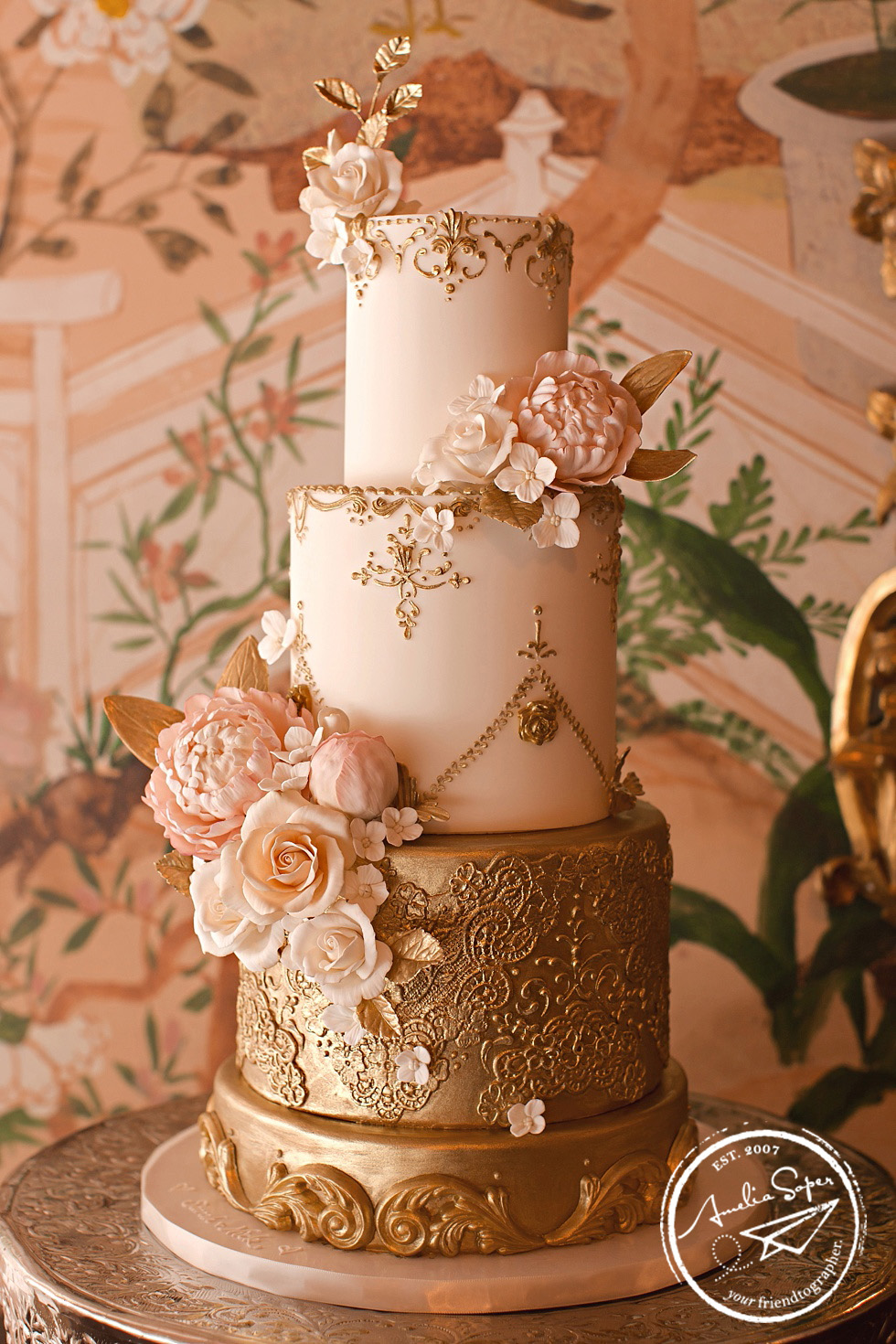 baroque ornate wedding cake at seattle sunset club wedding