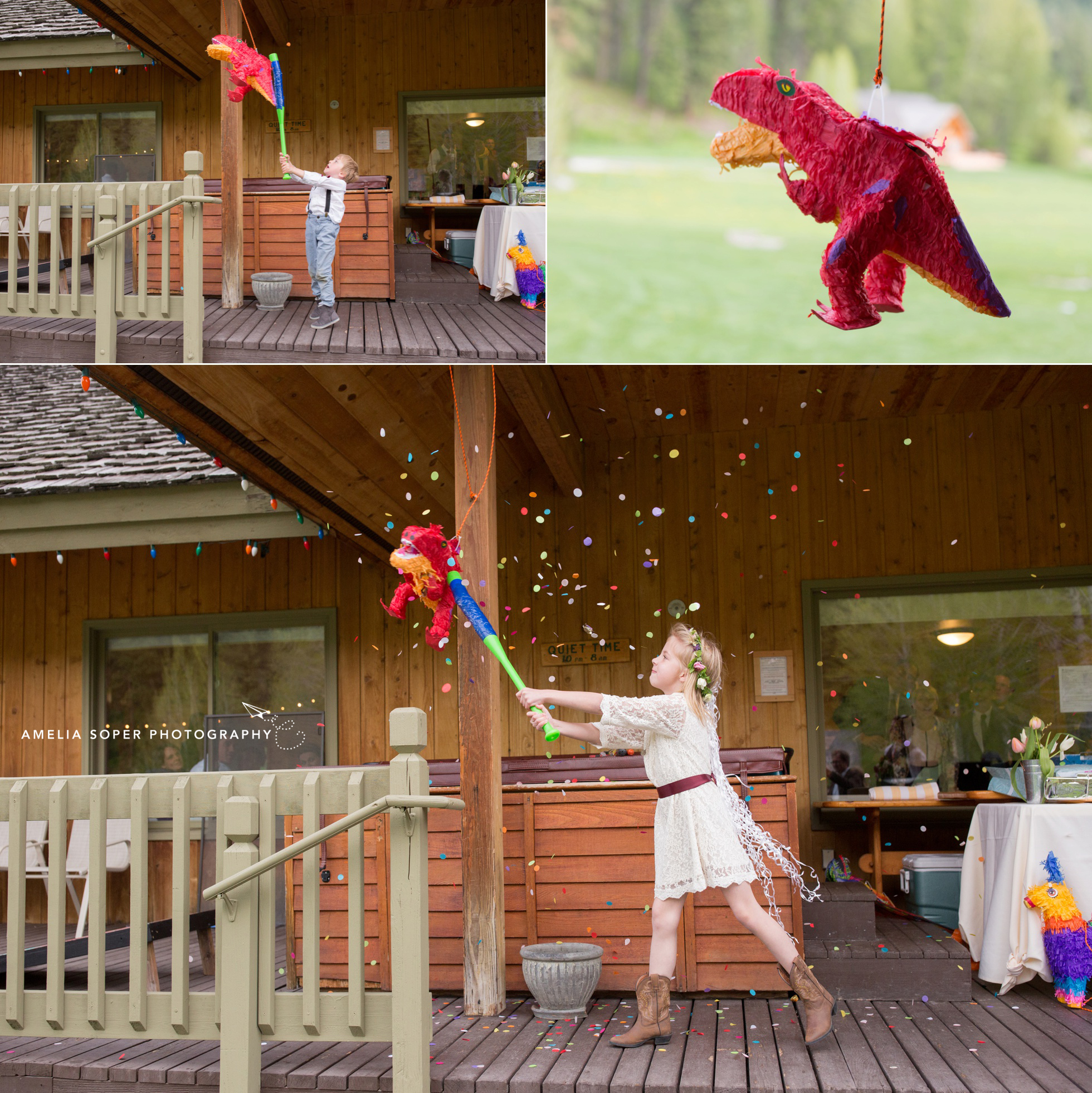 Pinata guest wedding fun at Mountain Springs Lodge wedding. Click to see more of this Leavenworth wedding in the PNW.