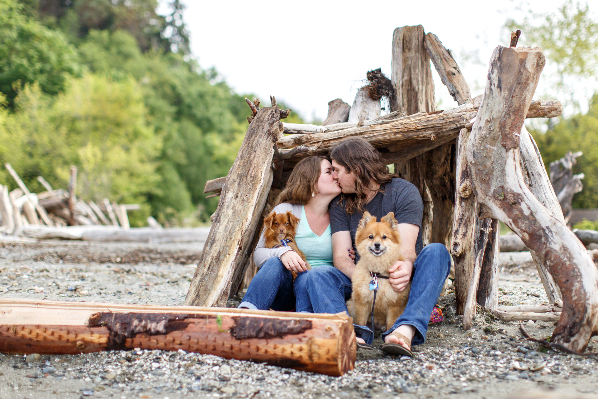 couple-in-beach-fort-with-dogs