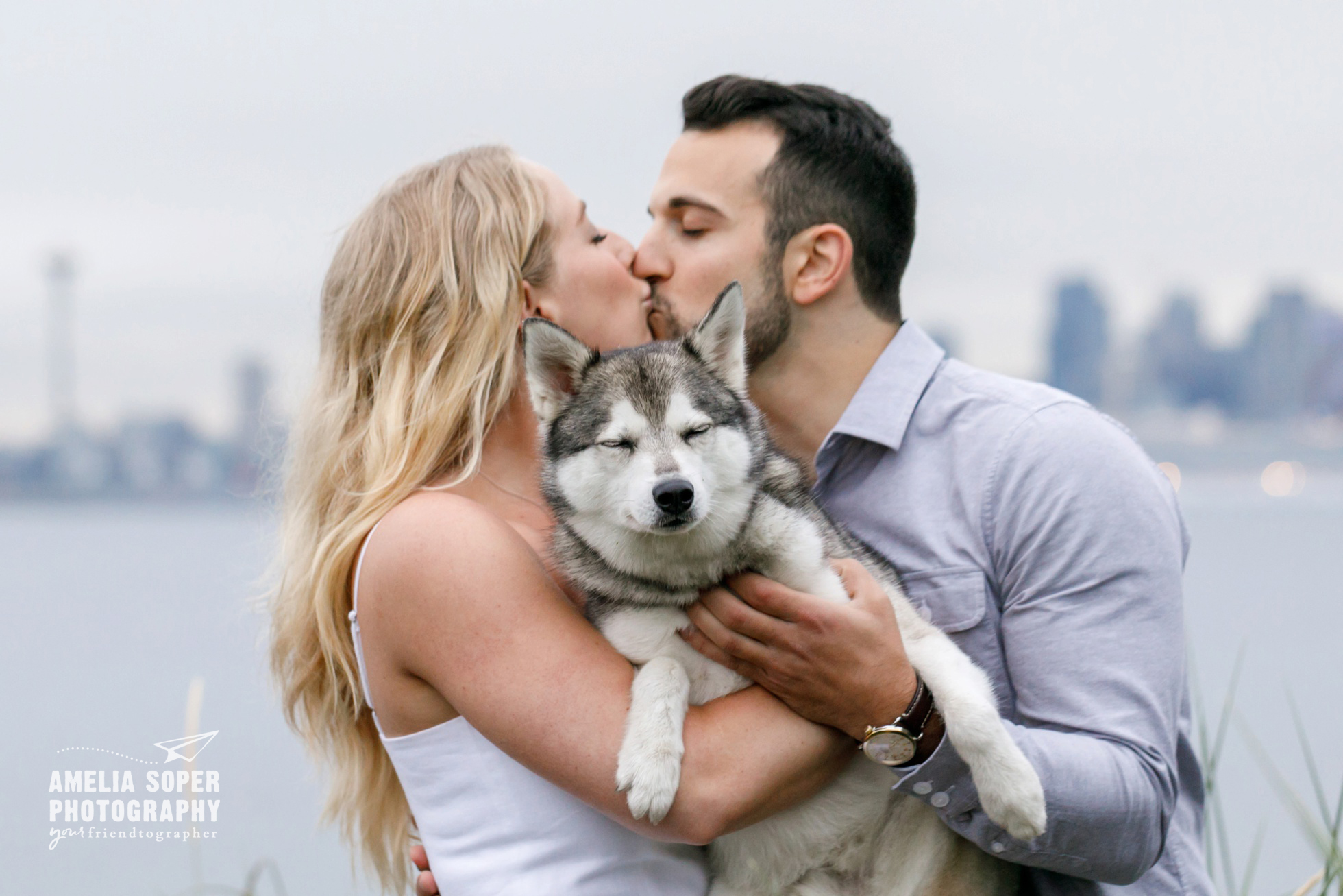 Seattle Sunrise engagement with Alaskan Klee Kai Dog