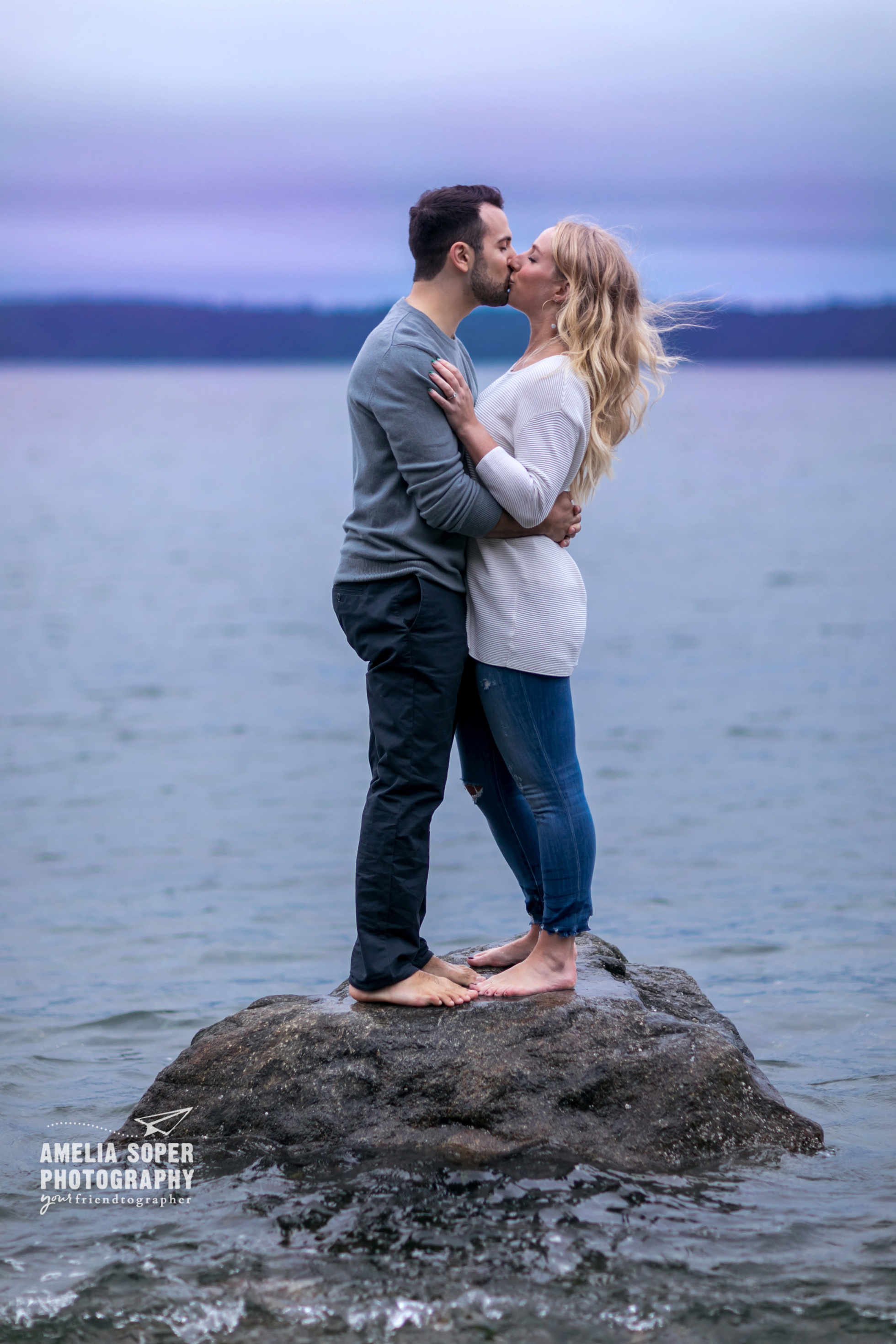 Romantic Pacific Northwest PNW Sunrise Engagement