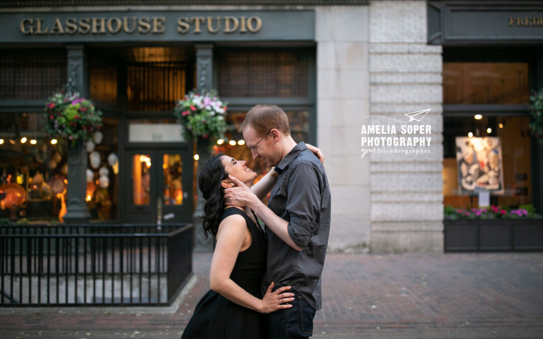 Katrina and Mike's Romantic Pioneer Square Engagement
