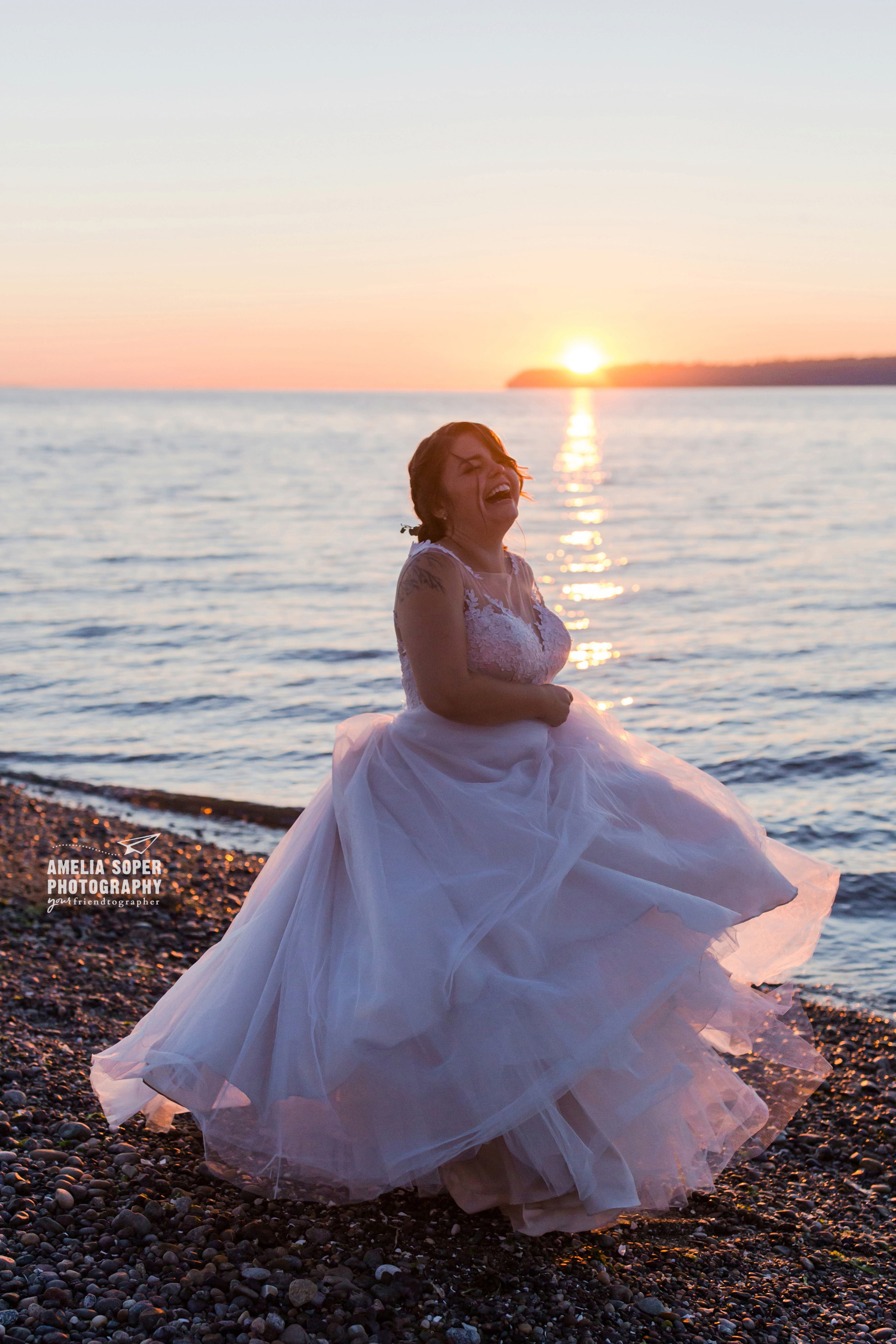Wedding gown, happy bride. Destination wedding at Semiahmoo resort in Blaine, Washington PNW
