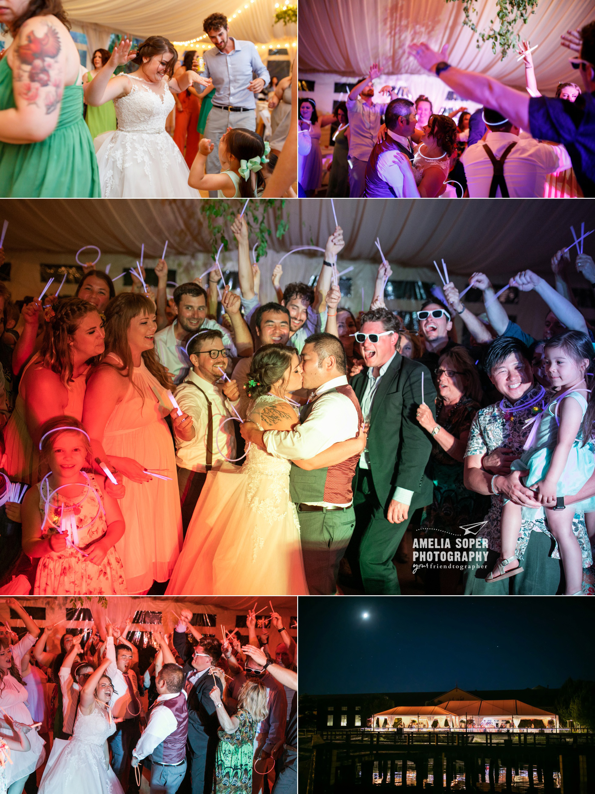 Destination wedding reception at Semiahmoo resort in Blaine, Washington PNW. Glow sticks send off